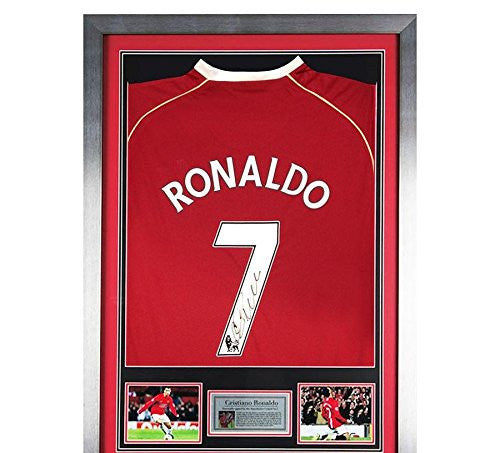 Signed Cristiano Ronaldo Framed Manchester United Shirt - Autographed Soccer Jerseys