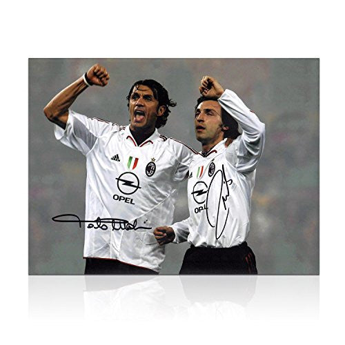 Andrea Pirlo And Paolo Maldini Signed Photo: AC Milan Legends