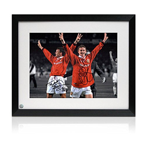 Teddy Sheringham and Ole Gunnar Solskjaer Signed And Framed Manchester United Photograph
