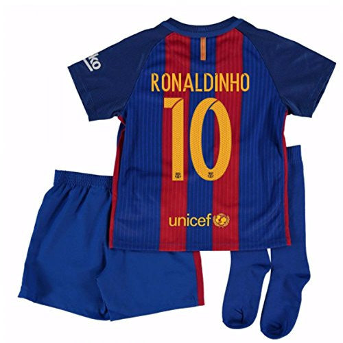 2016-17 Barcelona Home Little Boys Mini Kit (With Sponsor) (Ronaldinho 10)