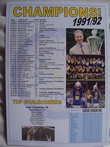 Leeds United League Champions 1991-92 - souvenir print