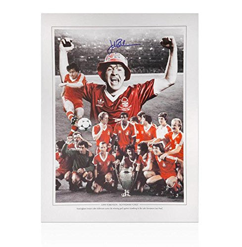 John Robertson Nottingham Forest Signed Photo - 1980 European Cup Final