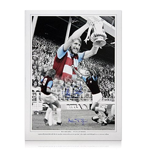 West Ham 1975 FA Cup Winners Picture - Hand signed by Billy Bonds & Alan Taylor