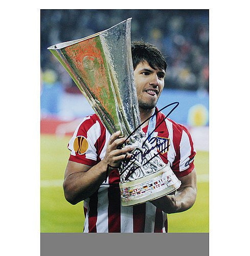 Sergio Aguero Autographed Atletico Madrid 16x12 Photo: 2010 UEFA Europa League Winner