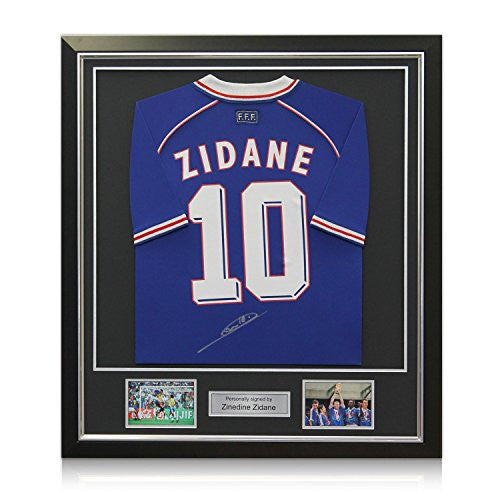 Deluxe Framed Zinedine Zidane Signed France 1998 Soccer Jersey (Silver Inlay)
