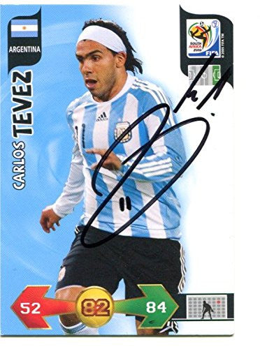 Carlos Tevez Signed Panini 2010 World Cup Soccer Trading Card Auto. Genuine Autograph! COA