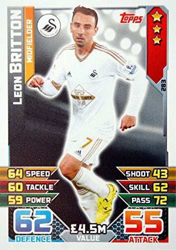 MATCH ATTAX 2015/2016 > SWANSEA CITY LEON BRITTON > Number 283 by Topps