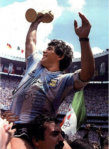 Diego Maradona Signed Lifting the World Cup Photograph