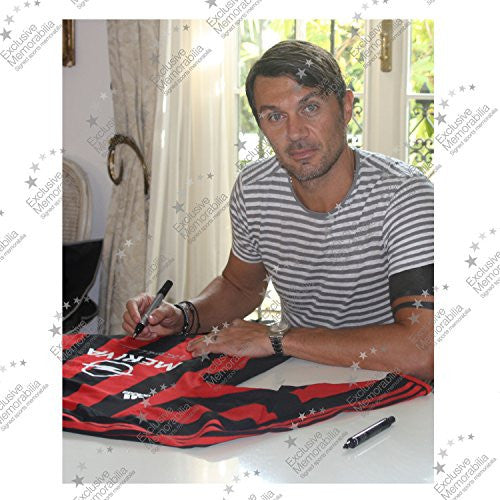 Paolo Maldini Signed 2003-04 AC Milan Player Issue Shirt. In Deluxe Black Frame With Silver Inlay