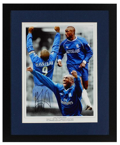 Jimmy Floyd Hasselbaink hand signed Chelsea montage(PP273)