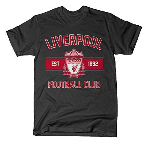 Official Liverpool FC Black Collegiate T Shirt