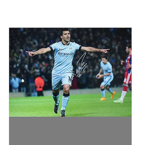Sergio Aguero Autographed Manchester City 16x12 Photo: Hat-Trick vs Bayern Munich
