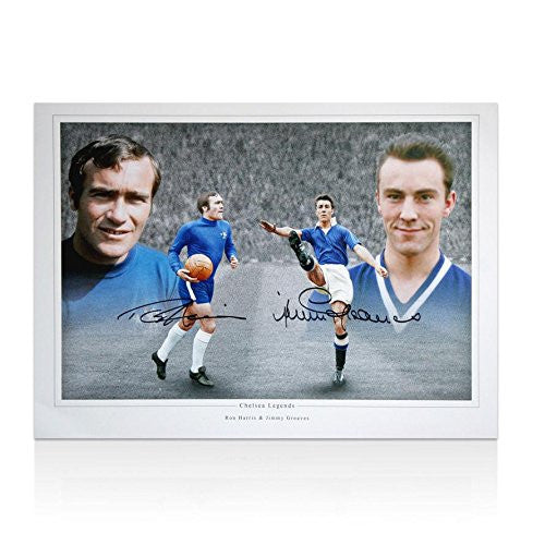 Ron Harris & Jimmy Greaves Hand Signed Photo - Chelsea Legends Autograph