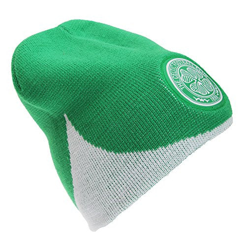 Celtic FC Official Wave Knitted Soccer/Football Crest Winter Beanie Hat