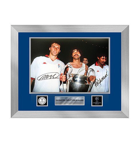 Marco Van Basten, Ruud Gullit & Frank Rijkaard Official UEFA Champions League Autographed and Framed AC Milan 16x12 Photo: 1990 UCL Winners