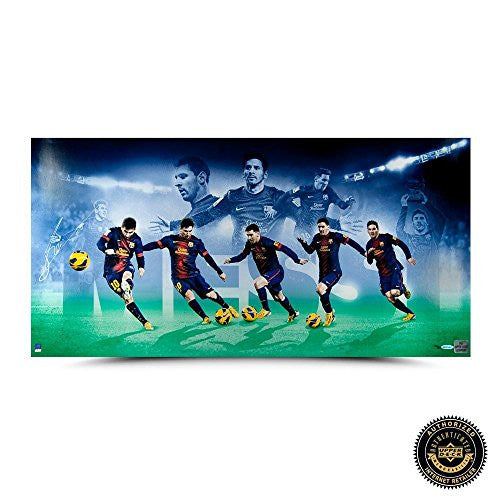 "Lionel Messi Signed Limited Edition Image Collage - ""Arrival"" - UDA - Autographed Collages"