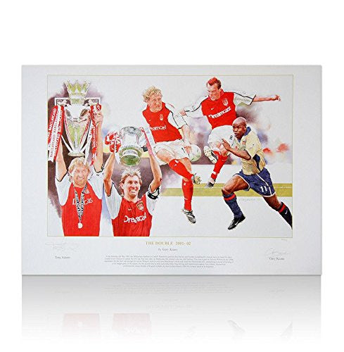 Tony Adams hand signed Arsenal art print - Double Autograph