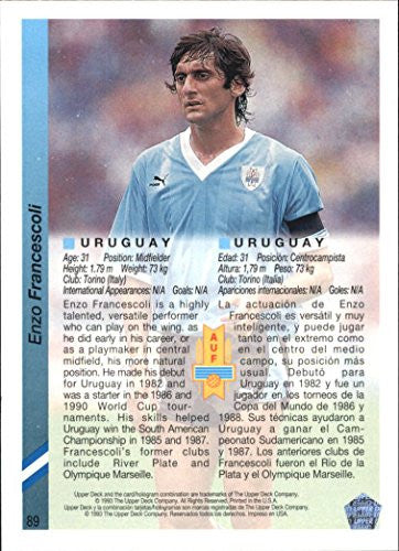 1993 Upper Deck World Cup 94 Preview English/Spanish #89B Enzo Francescoli
