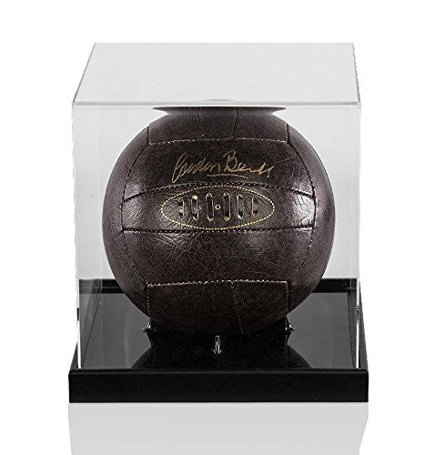Gordon Banks Signed Football Retro Leather In Acrylic Display Case Autograph