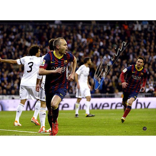 Andres Iniesta Signed 12x16 Photograph Barcelona Team El Clasico goal - Certified Authentic Autograph