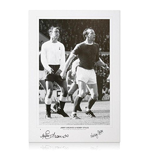 Jimmy Greaves & Nobby Stiles signed picture - Football Legends Autograph - Autographed Soccer Photos