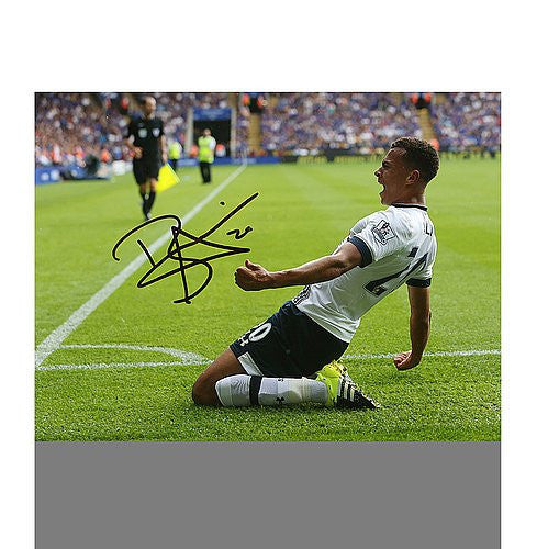 Dele Alli Autographed Tottenham Hotpsur 16x12 Photo: Kneeslide Celebration - ICONS Authentic Signed Autograph
