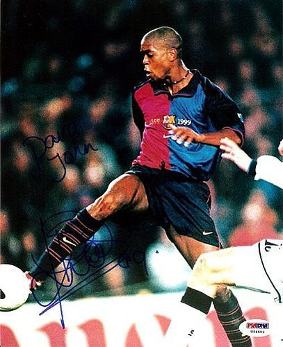Patrick Kluivert Signed 8x10 Photograph Barcelona To John - PSA/DNA Authentication - Sports Memorabilia
