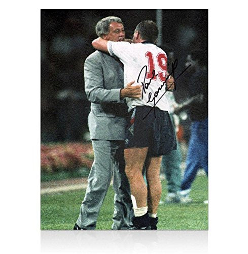 Autographed Paul Gascoigne Photo - England Sir Bobby Robson