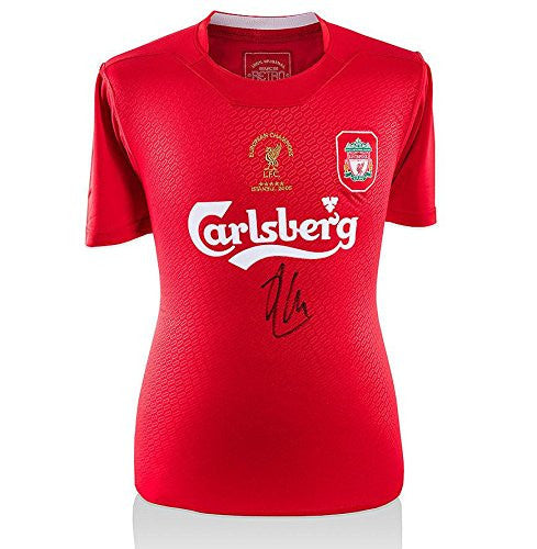 Xabi Alonso Signed Liverpool Shirt - Istanbul 2005 Champions League Final - Autographed Soccer Jerseys