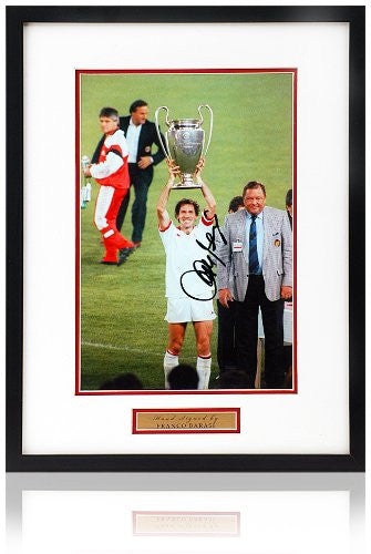 Franco Baresi hand signed 12x8 AC Milan European Cup photograph.