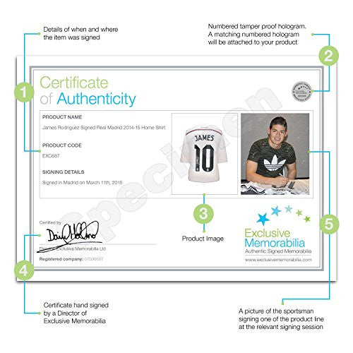 James Rodriguez Signed Real Madrid Football Shirt (Deluxe Frame With Silver Inlay)