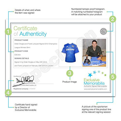Deluxe Framed Frank Lampard And Didier Drogba Signed Chelsea 2012 Champions League Final Jersey