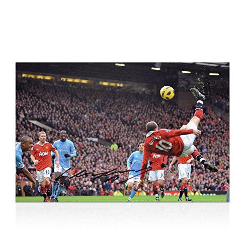 Autographed Wayne Rooney Picture - 12x8 Overhead Kick