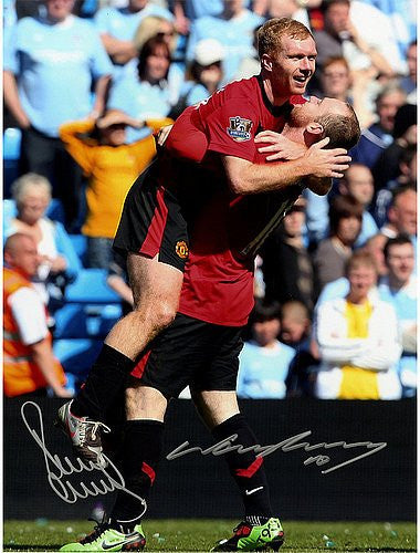 Paul Scholes & Wayne Rooney Dual Signed Manchester United Derby Goal 16x12 Photograph