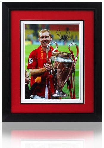 "Paul Scholes hand signed 16 x 12"" European Cup Photograph"