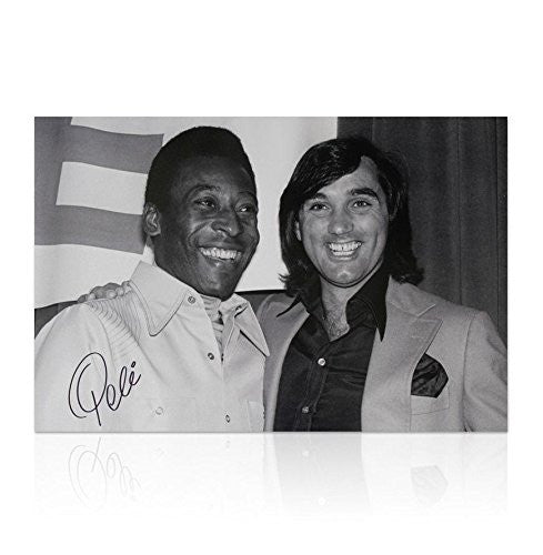 Pele signed photo - George Best with Pele - Large Autograph