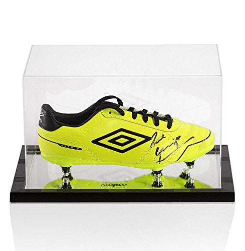 Paul Gascoigne Signed Umbro Football Boot Yellow - In Acrylic Display Case - Autographed Cleats