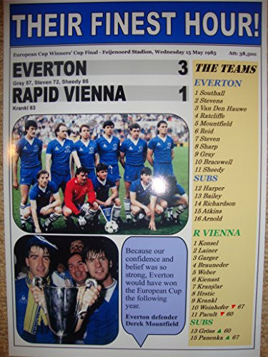 Everton 3 Rapid Vienna 1 - 1985 European Cup Winners' Cup final - Souvenir Print