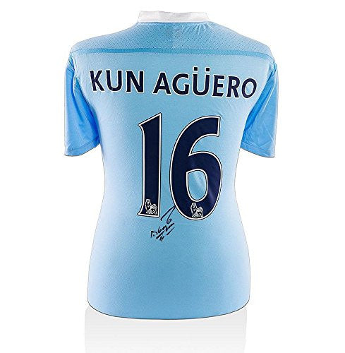 Sergio Aguero Signed Manchester City Shirt - 2011-12 Autographed