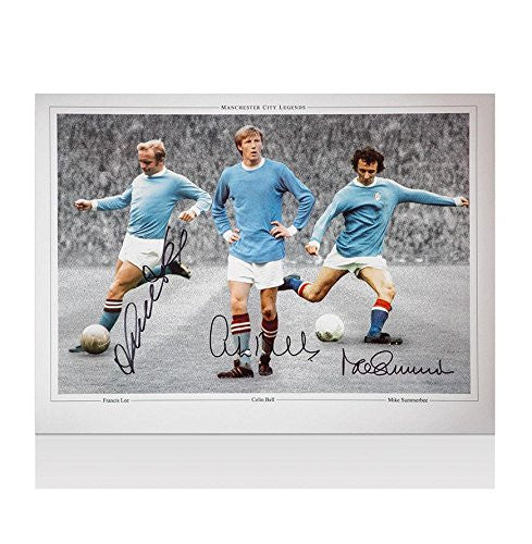 Manchester City Montage Photo Signed By City legends Bell, Summerbee & Lee