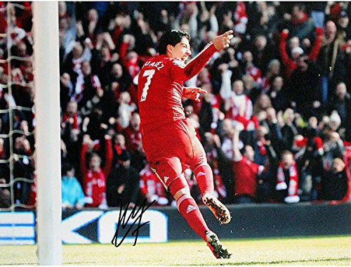 Luis Suarez Signed Liverpool vs Man U Goal Horizontal 12x16 Photograph - Certified Authentic Autograph