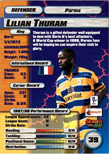 1998-99 Merlin Serie A #39 Lilian Thuram - NM-MT