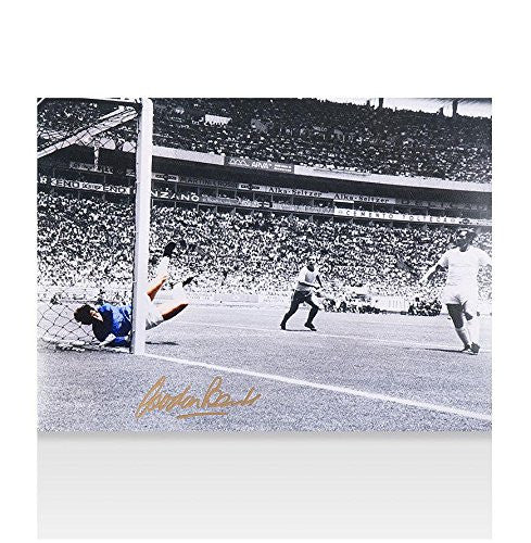 Gordon Banks Signed Photo - 1970 World Cup Pele Save Colourised Autograph - Autographed Soccer Photos