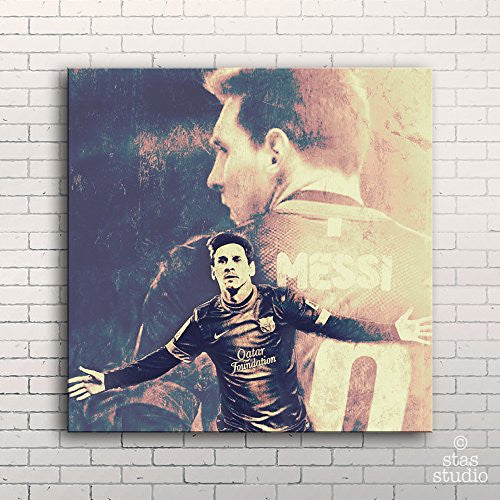 "LIONEL MESSI FC Barcelona - Painting Giclee CANVAS PRINT (Large 22"" x 22"" / MOUNTED Gallery Wrap)"