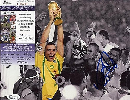 Ronaldo Brazil Soccer Legend Celebrating Signed Autographed 8x10 Photo - JSA Certified