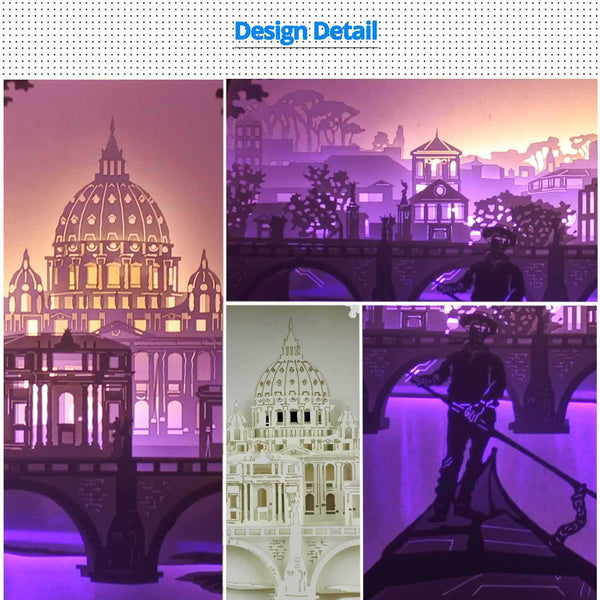 Share to Get 50% OFF ! Best Diy Project and Discount for Stay-at-home - Printed Pattern Template Files of Papercut Light Boxes,905,Rome