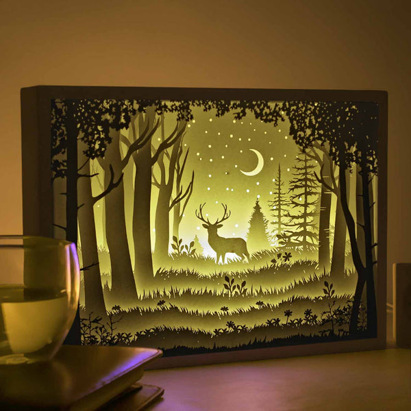 Papercut Light Boxes - The Deer in The Deep Forest At Night