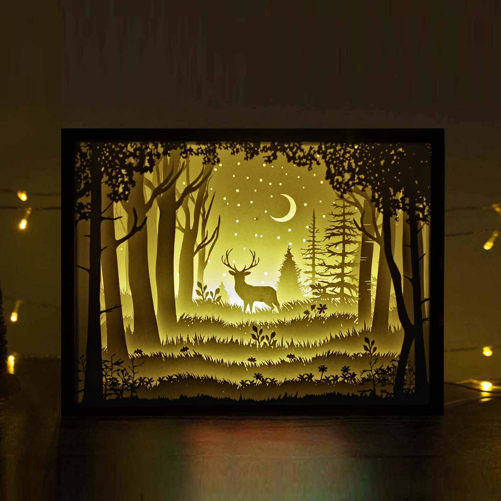 Papercut Light Boxes The Deer In The Deep Forest At