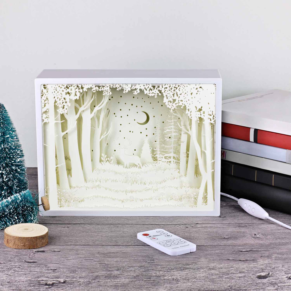Papercut Light Boxes The Deer In The Deep Forest At Night Vibesgenius
