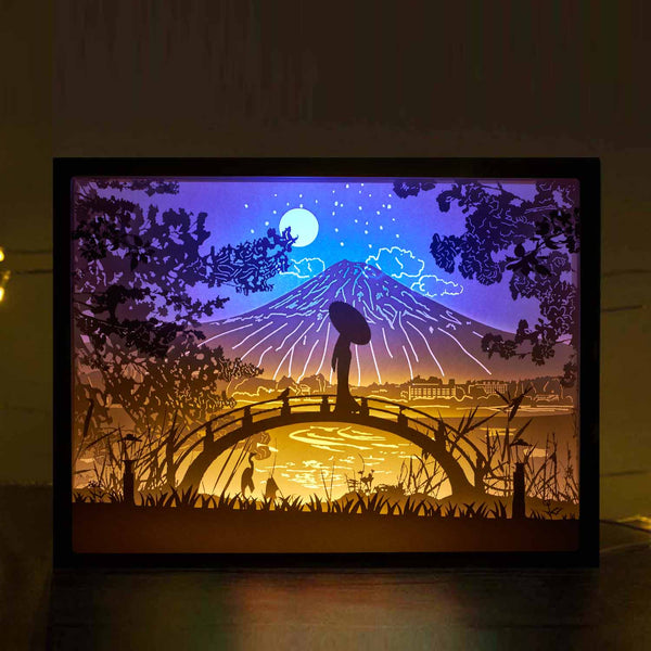 Papercut Light Boxes - The girl on the bridge